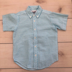 Bailey Boys Turquoise Check SS Button Down Size 5