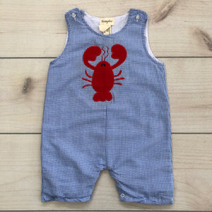 Honeydew Blue Gingham Shortall Lobster Appliqué Size 12-18 months NWOT