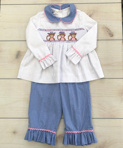 Orient Expressed Two Piece Smocked Pants Set Size 3