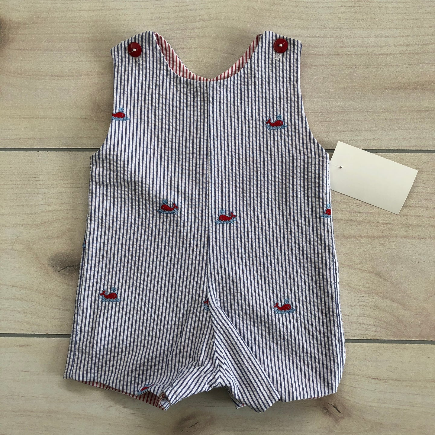Blue Seersucker Shortall Embroidered Whales Size 6 months NWT
