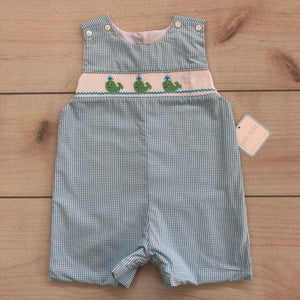 Petit Bébé Smocked Whale Blue Gingham Shortall Size 2T NWT
