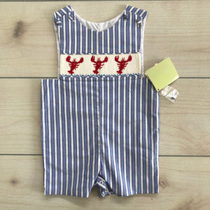 Zuccini Smocked Lobster Shortall Size 18 months NWT