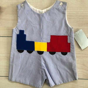 Blue Seersucker Appliqué Train Size 9 months NWT