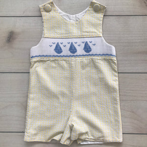 Delaney Smocked Sailboat Shortall Size 24 months