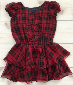Ralph Lauren Red and Black Plaid Ruffle Dress 8