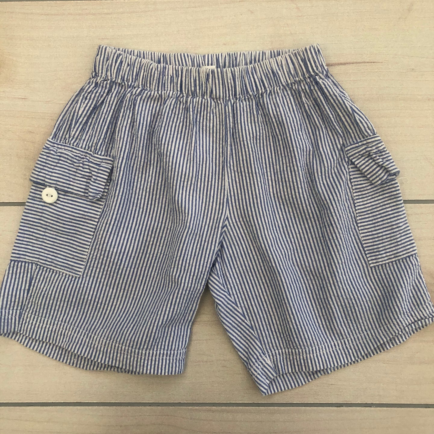 Blue Seersucker Pull Up Shorts Size 3