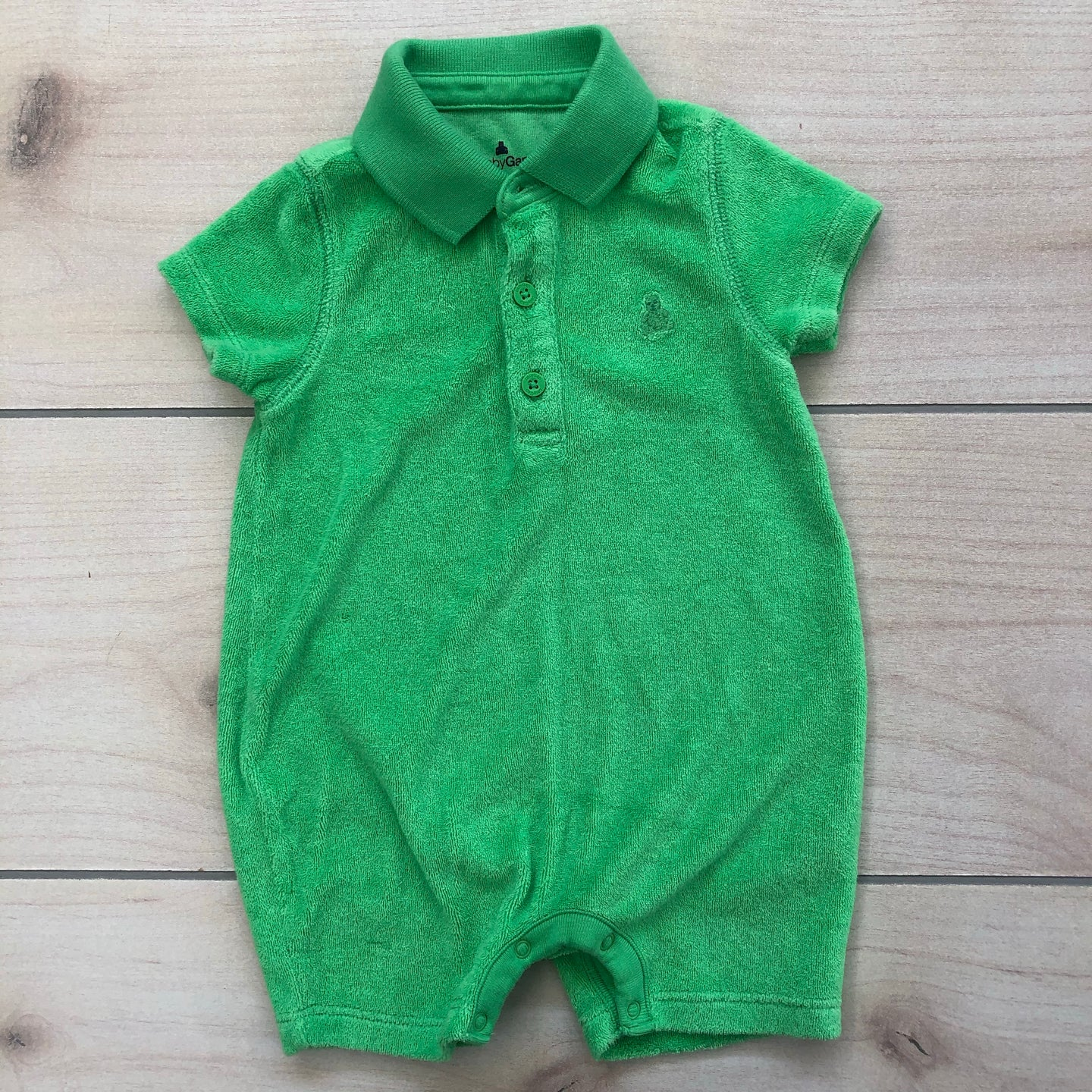 Baby Gap Green Terry Cloth Romper Size 3-6 months