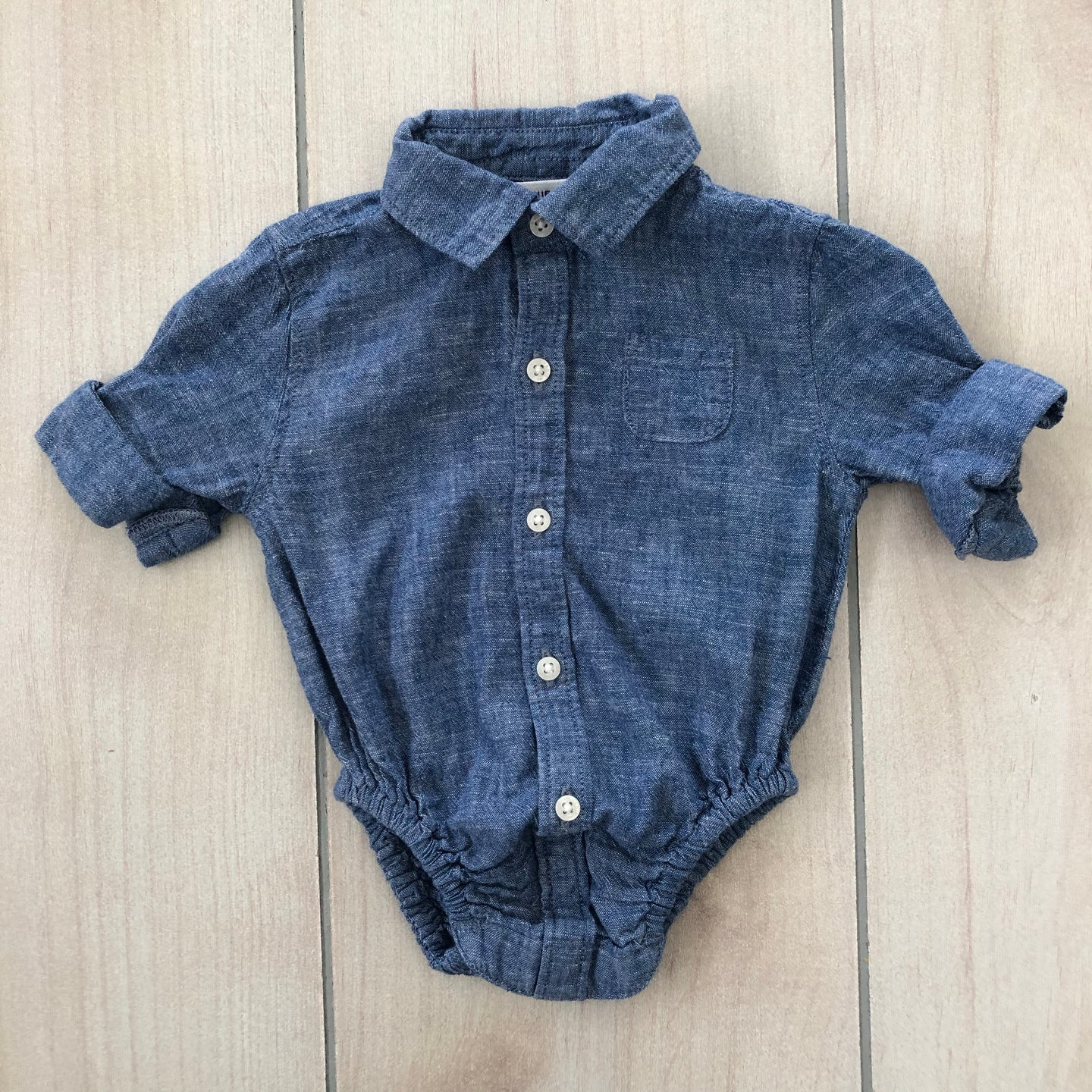 Janie and Jack Chanbray Button Down Onesie 0-3 Months