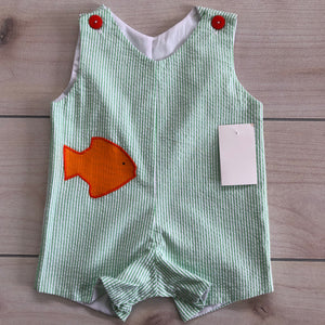 Green Seersucker Appliqué Goldfish Shortall Size 12 months NWT