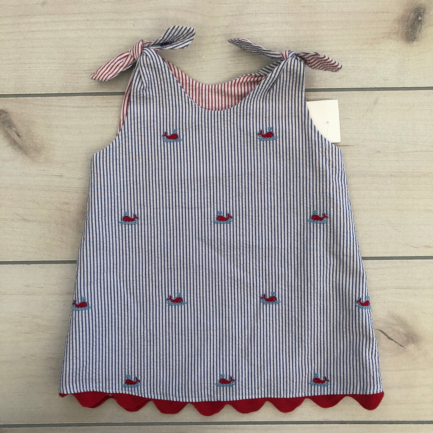 Seersucker Dress with Embroidered Whales Size 18 months NWT