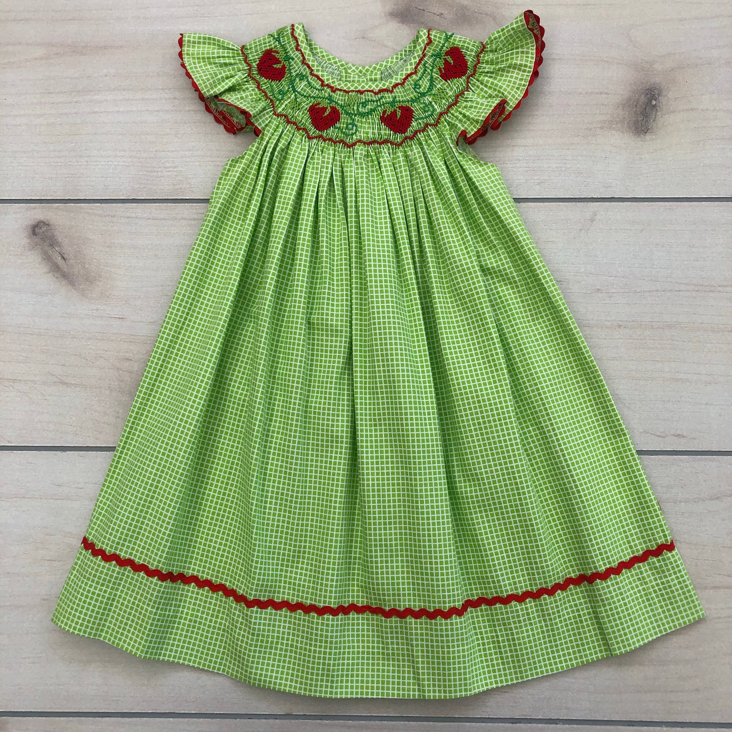 Petit Bebe Strawberries Smocked Dress 9 Months NWT