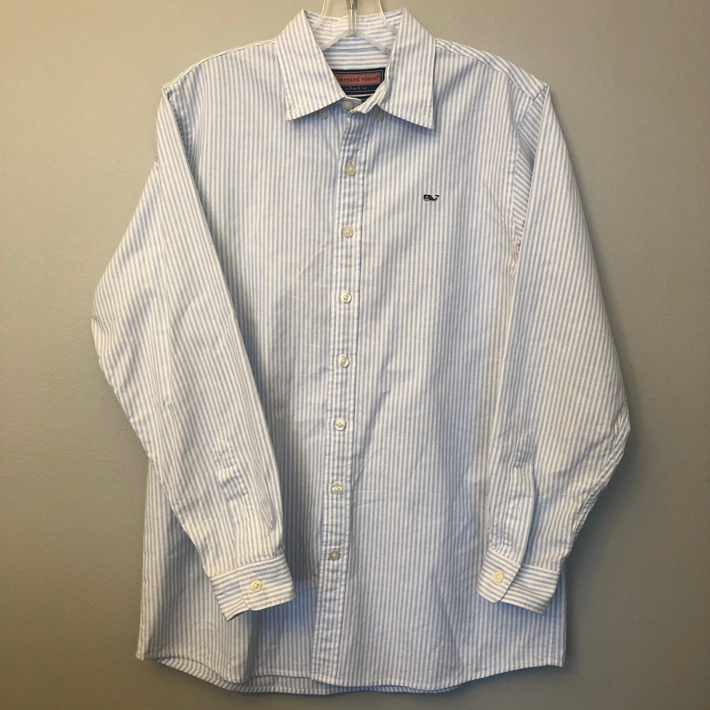 Vineyard Vines Striped Whale Shirt Button Down Size 16-18
