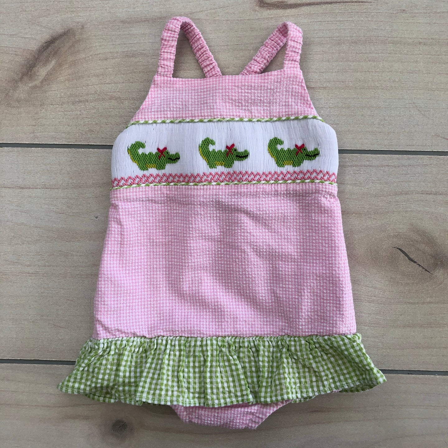 Sweet Potato Kids Smocked Gator Swimsuit Size 12 Months
