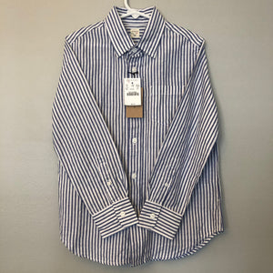 Crewcuts Seersucker Linen/Cotton Blend Button Down Size 6-7 NWT