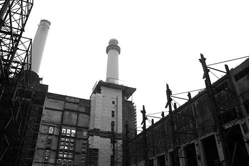 Battersea Scaffold and Chimneys B&W