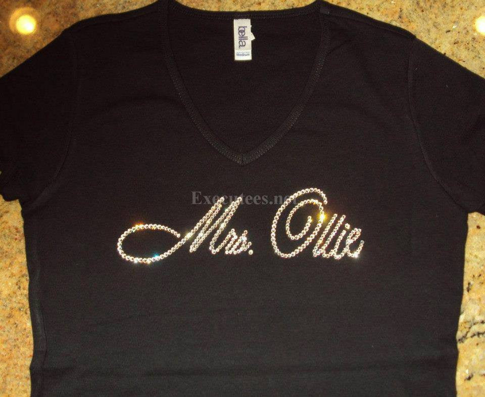 Mrs. Your Last Name in Script Tee - 12 Letter Max-Ollie Design - FREE USA SHIPPING