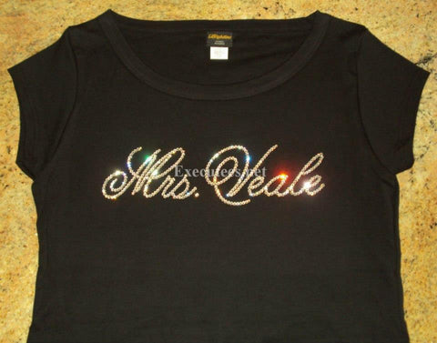 Mrs. Your Last Name in Script Tee - 12 Letter Max - Veale Design - FREE USA SHIPPING