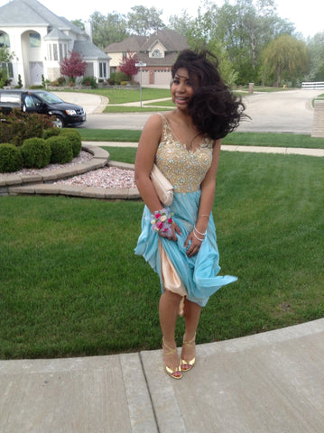 LaFemme Gold & Aqua Blue Prom Dress