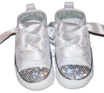 Executees Soft Sole Converse Chuck Taylor Crystallized in Clear Diamond Swarovski Crystals