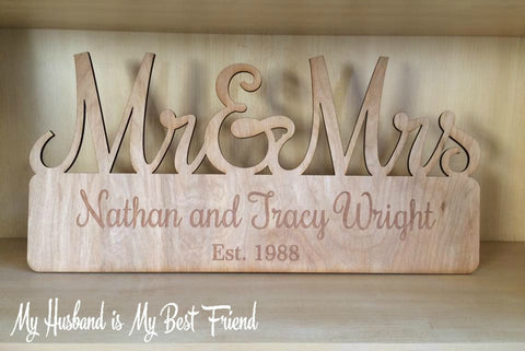 Custom Mr. & Mrs. Est. Sign - FREE USA SHIPPING