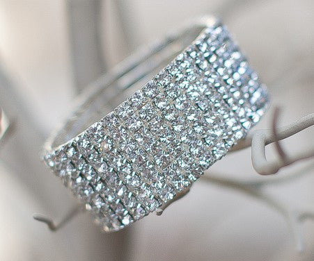 7 Row Stretch Rhinestone Bracelet - Crystal Silver