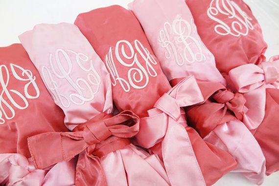 Monogrammed Satin Robes - PERFECT FOR BRIDAL PARTIES - FREE USA SHIPPING