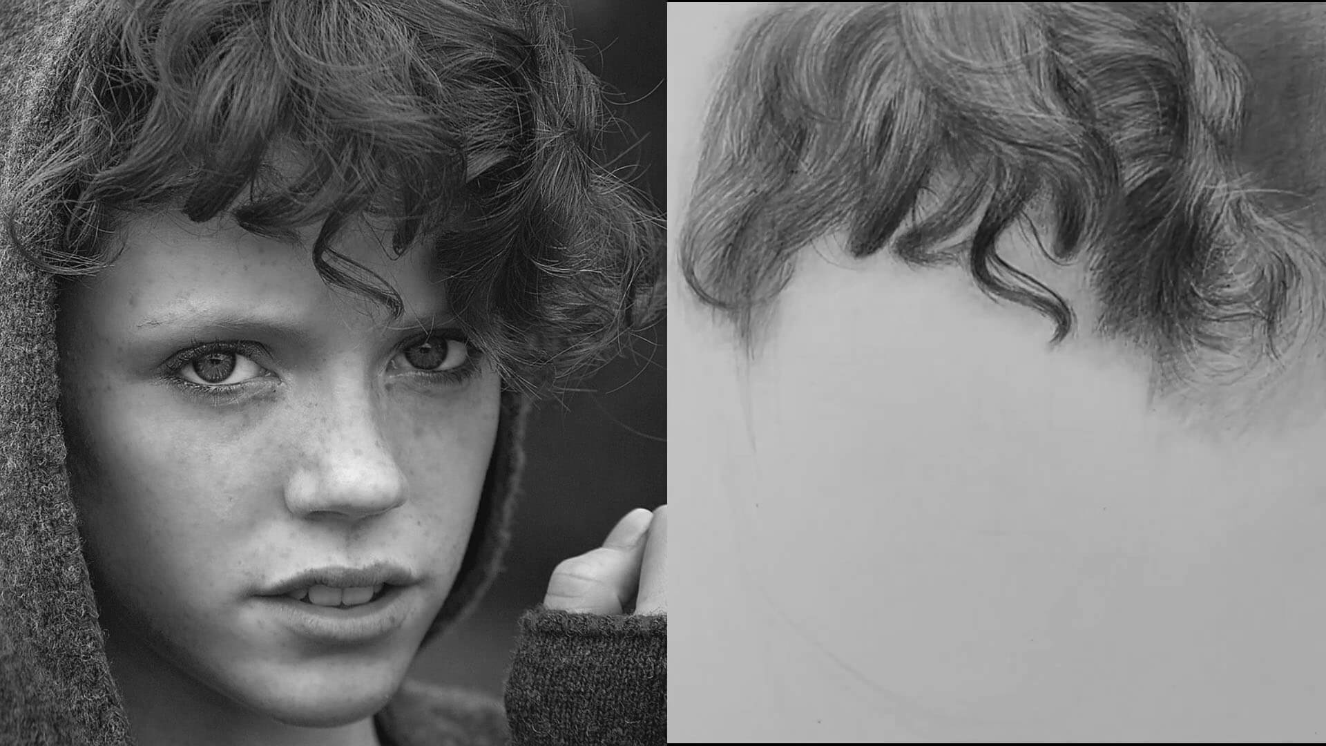 hair drawing with reference photo