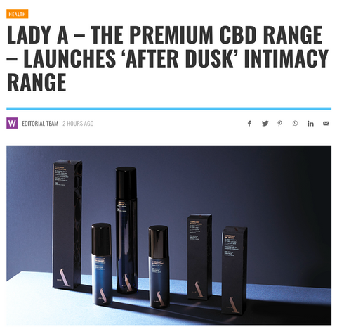Lady A's After Dusk CBD intimacy range in Wellbeing magazine