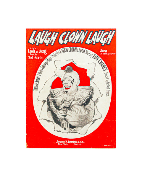 1928 Laugh Clown Laugh - Vintage Sheet Music