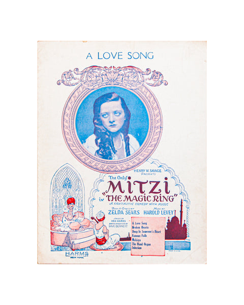 1923 A Love Song - Vintage Sheet Music