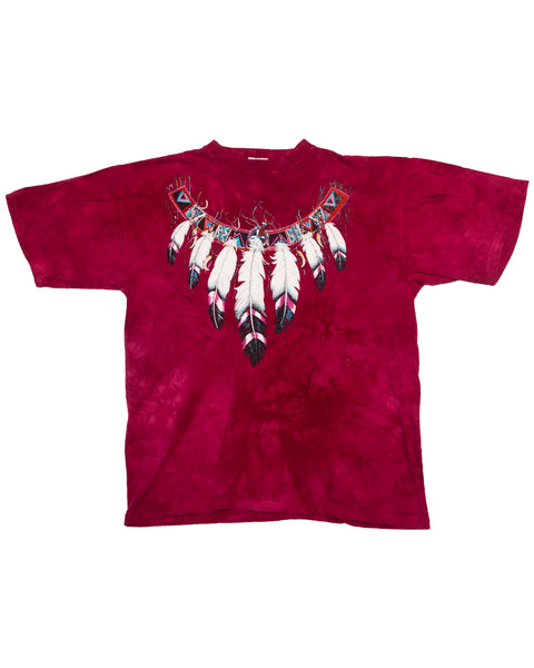 1990s Tie Dye Glitter Vintage Feather T-Shirt