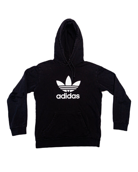 2000s Thrashed Black Adidas Trefoil Hooded Sweatshirt