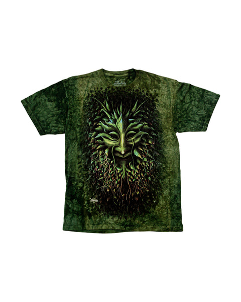 2009 The Mountain Psychedelic Green Plant Face Tie Dye T-Shirt