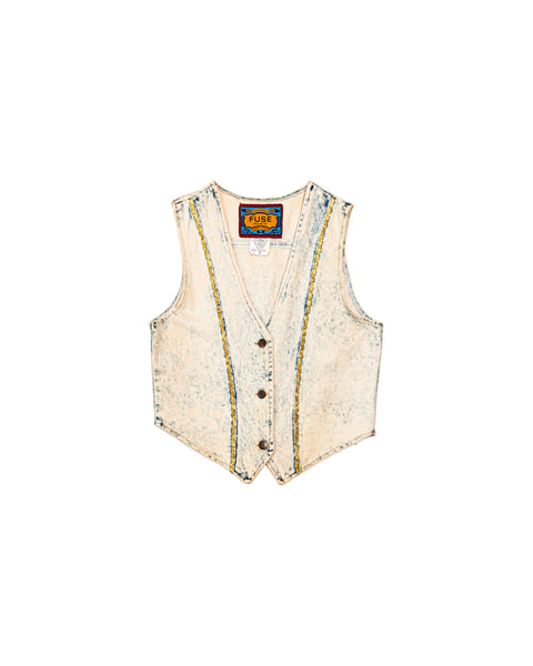 1980s Vintage Fuse Paris Acid Wash Denim Vest