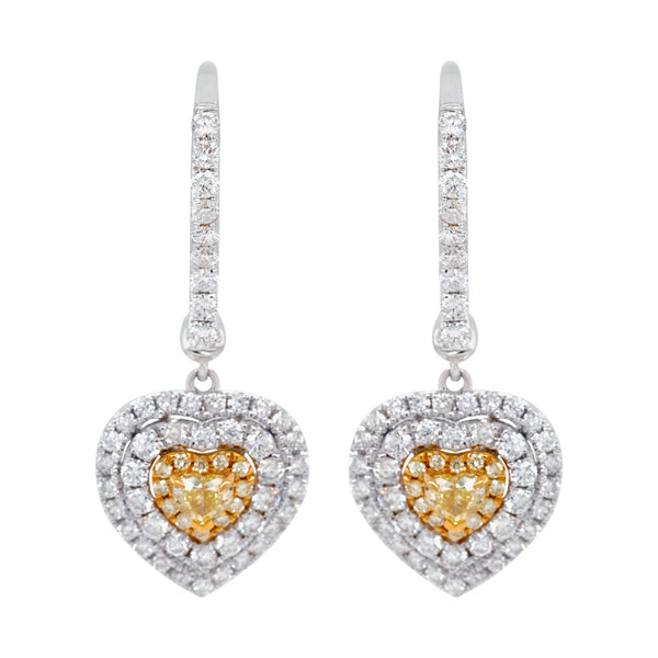 0.32ct Yellow Diamond earrings with 1.10ct diamonds set in 18K two tone gold