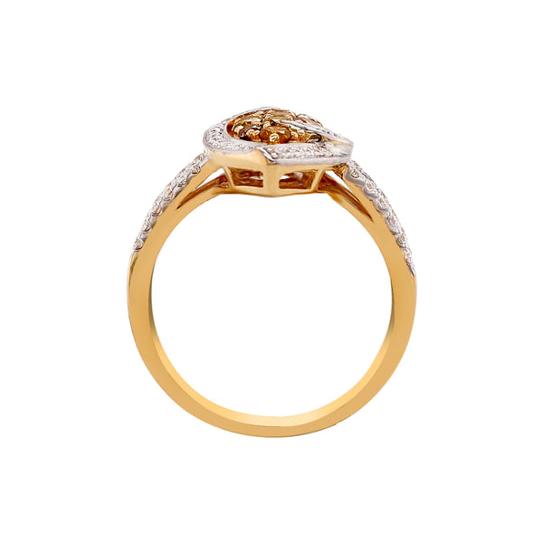 0.52Tct Yellow Diamond Ring With 0.35Tct White Diamond Hug Halo In 14Kt Yellow Gold