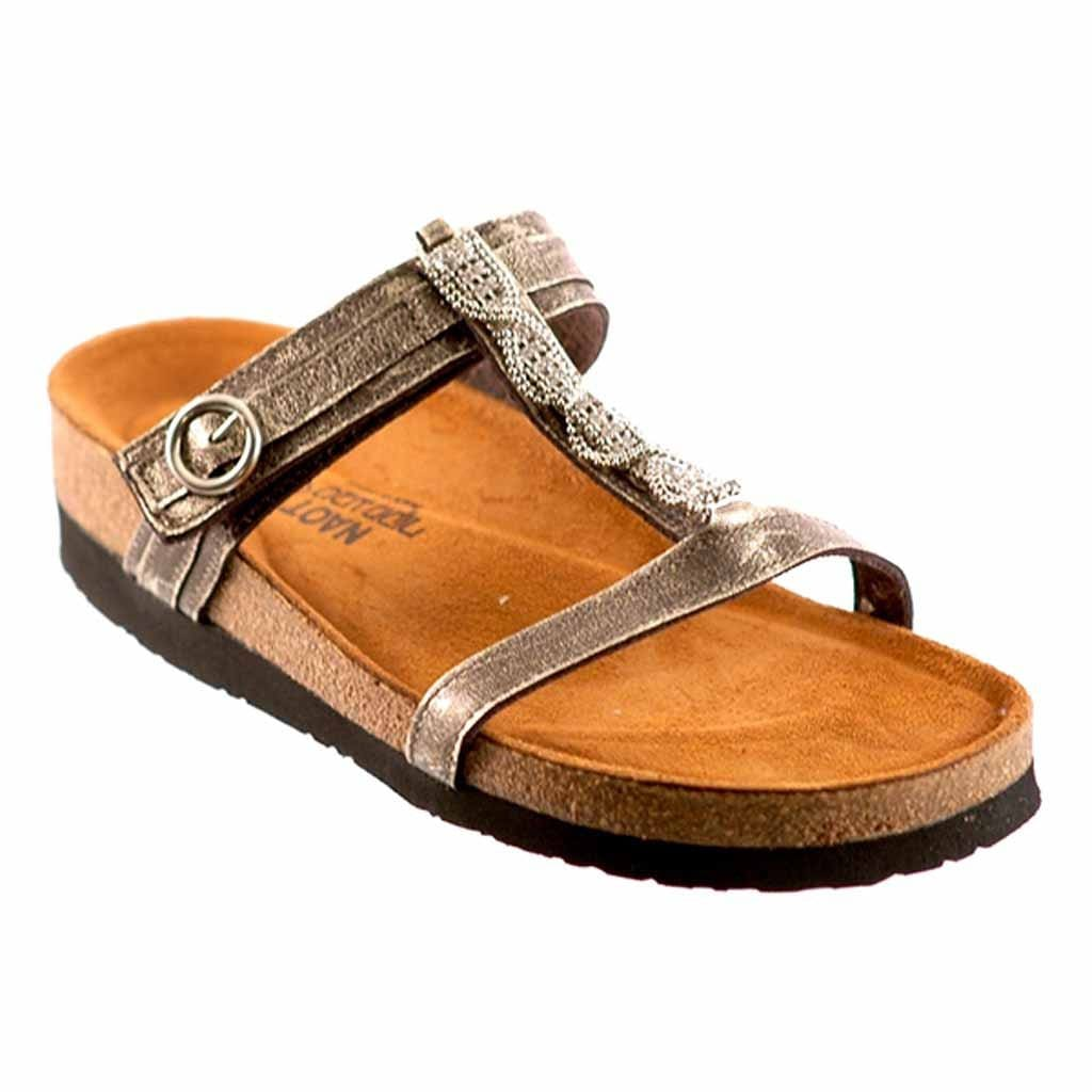 Naot Malibu Women's Beaded Leather T-Strap Slide Casual Sandal Shoe