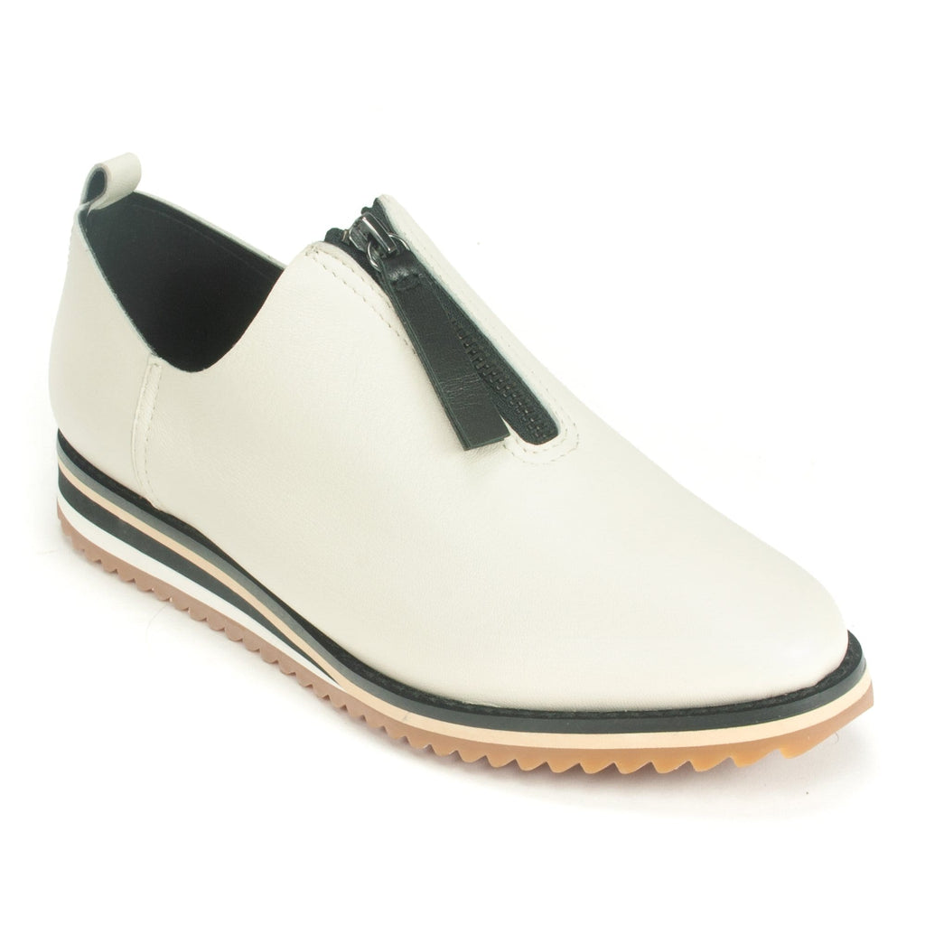 All Black Center Zip Women's Leather Slip On Wedge Sole Ivory | Simons Shoes