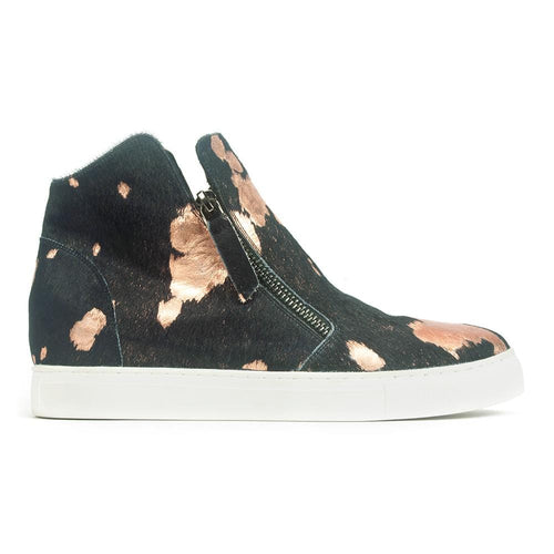 All Black Fur Top Sneaker - Metallic Calf Hair High Top | Simons Shoes