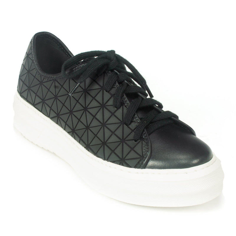 All Black Womens Lace Up Chunky Graphic Trainer Black | Simons Shoes