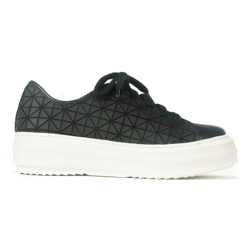 All Black Womens Lace Up Chunky Graphic Trainer Black | Simons Shoes Edit alt text