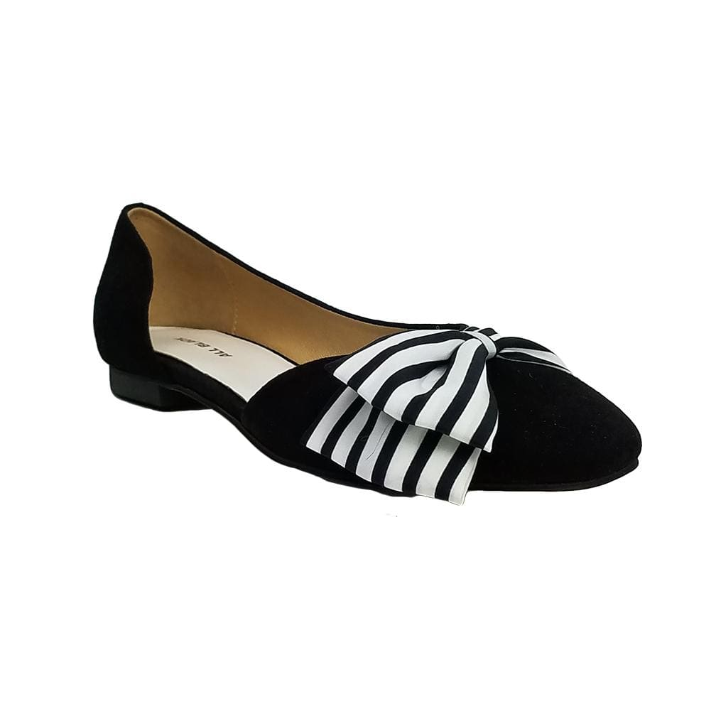 All Black Footwear Half D&B Black and White Fabric Ballet Flat Shoe