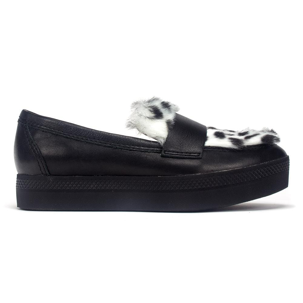 All Black Nufursneak Women's Leather and faux fur Slip On Loafer Shoe