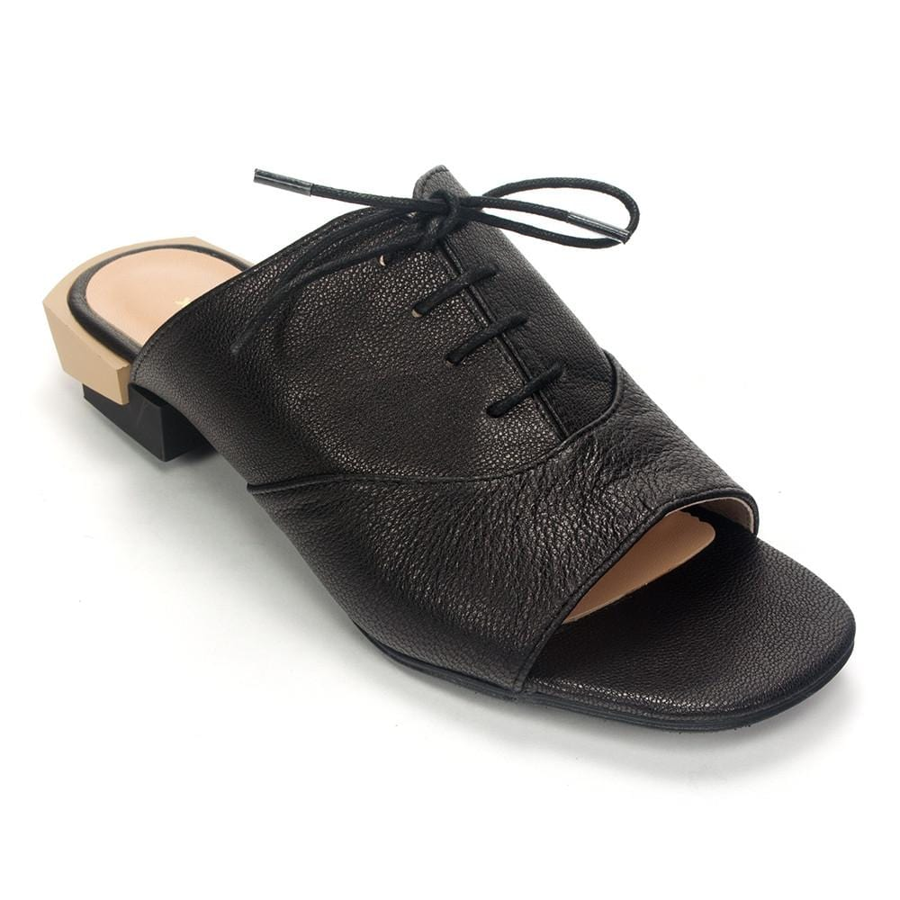 All Black Women's Ot Ox Slide Leather Slip On Oxford Shoe