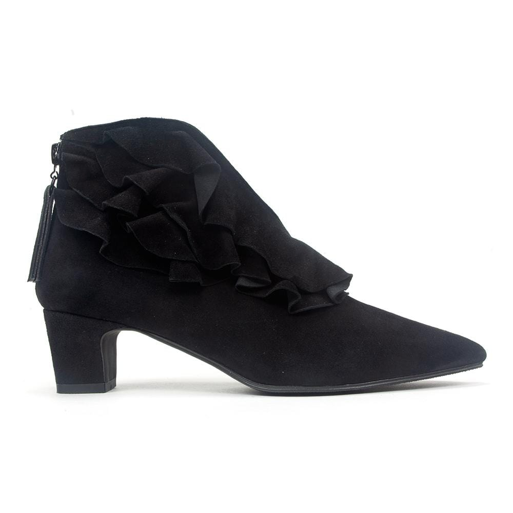 All Black Pt Ruffle Women's Leather Heeled Zip Ankle Bootie Style Shoe