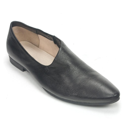 All Black Women's Side Scoop Pointed Leather Loafer Shoe