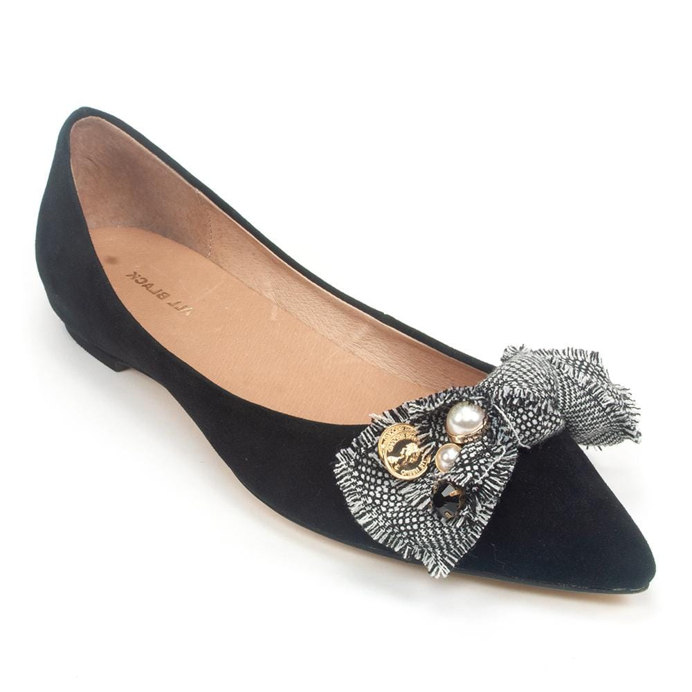 All Black Tweed & Jewel Women's Leather Tweed Bow Pointed Flat Shoe