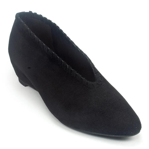 All Black Whip Stitch Women's Leather Hidden Wedge Fashion Bootie Shoe