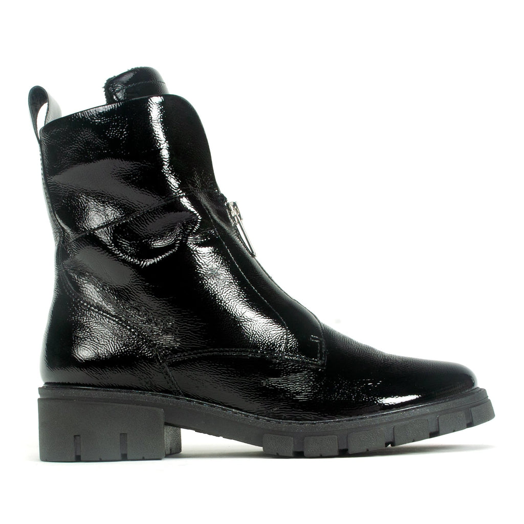 Ara Deon Women's Boot Patent Leather Side Zip Closure  Black | Simons Shoes
