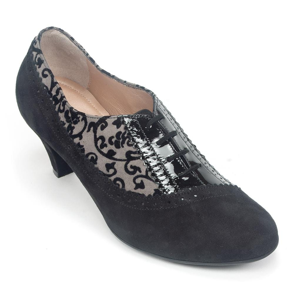 BeautiFeel Antonia Women's Patterned Suede Heeled Oxford Dressy Shoe